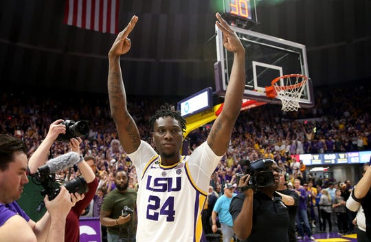LSU Tigers forward Emmitt Williams celebrates after their game against the Tennessee Volunteers at the Maravich Assembly Center. LSU won 82-80 in overtime