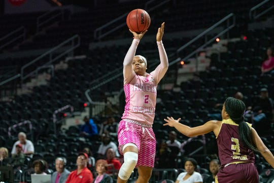 UL's Brandi Williams shoots to score as the Ragin' Cajuns take on the Texas State Bobcats at the Cajundome on February 23, 2019.