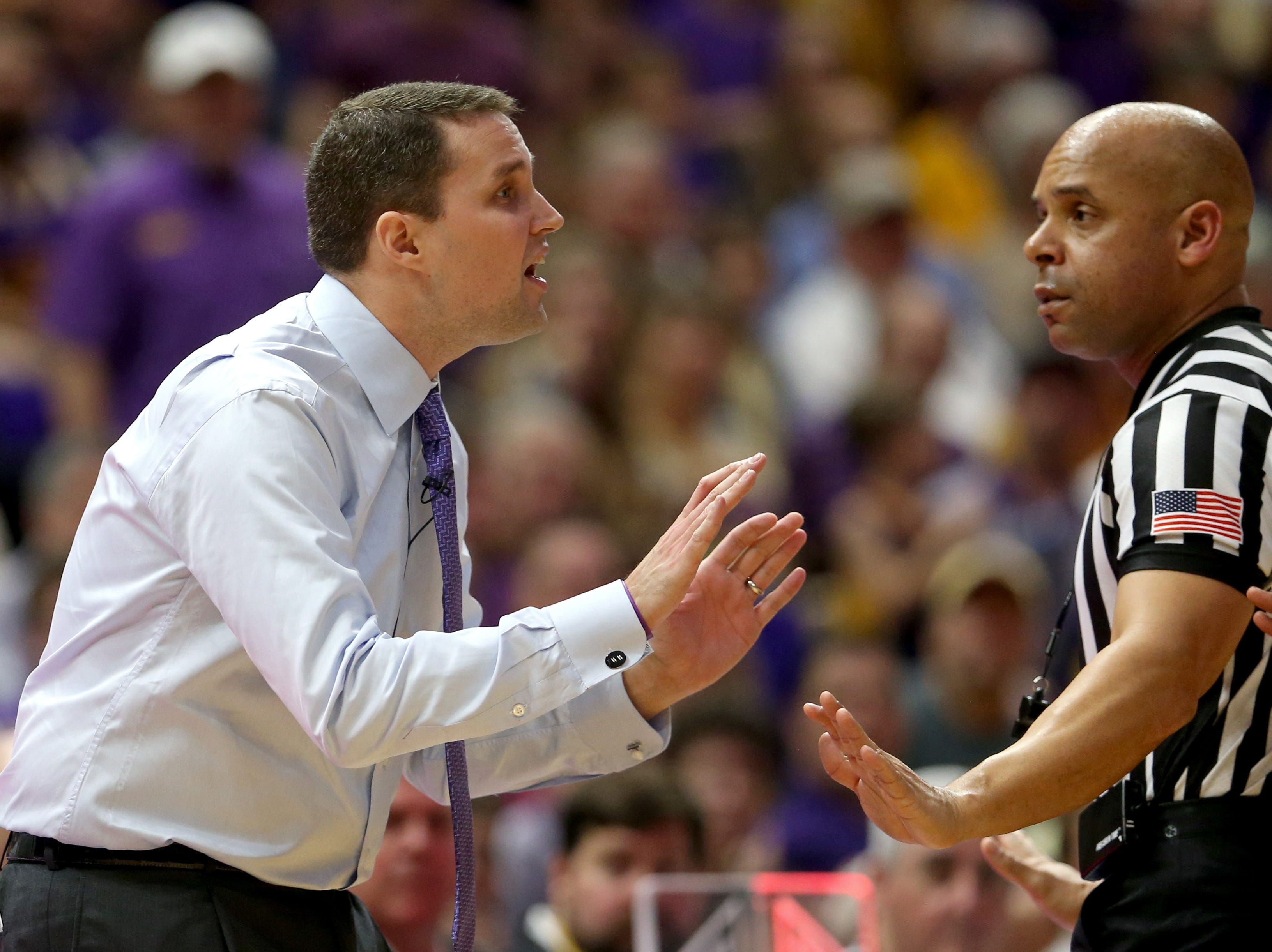 Feb 23, 2019; Baton Rouge, LA, USA; LSU Tigers head coach Will Wade gestures to a referee in the first half of their game against the Tennessee Volunteers at the Maravich Assembly Center. Mandatory Credit: Chuck Cook-USA TODAY Sports