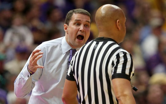Feb 23, 2019; Baton Rouge, LA, USA; LSU Tigers head coach Will Wade yells to a referee in the first half of their game against the Tennessee Volunteers at the Maravich Assembly Center. Mandatory Credit: Chuck Cook-USA TODAY Sports