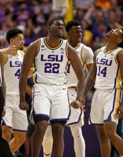 Feb 23, 2019; Baton Rouge, LA, USA; LSU Tigers forward Darius Days (22) reacts to a call in the first half of their game against the Tennessee Volunteers at the Maravich Assembly Center. Mandatory Credit: Chuck Cook-USA TODAY Sports