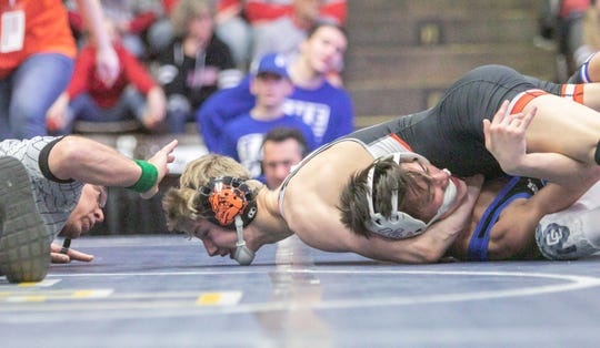 Brighton's Sam Freeman gets the only pin of the state Division 1 championship match against Matt Anderson of Detroit Catholic Central on Saturday, Feb. 23, 2019.