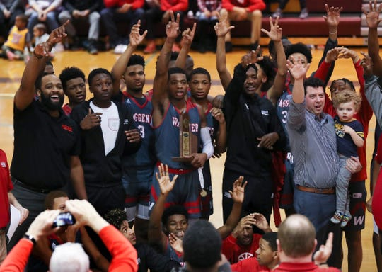 Waggener celebrated their 27th District Championship win against Trinity during their game at Atherton High School.  Feb. 22, 2019