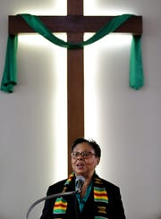 The Rev. Angela Johnson leads the Sunday service at Grace Hope Presbyterian Church in Smoketown.