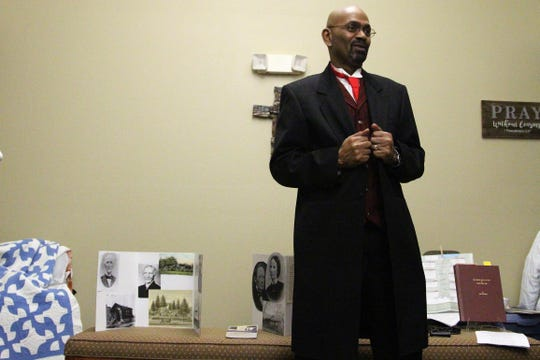 "Mark Revere, with the Marion County Historical Society, portrays Simon Pierce, who was Marion's first black barber when he made the trek to what was known as ""the village"" at the time from his native France in the 1820s."