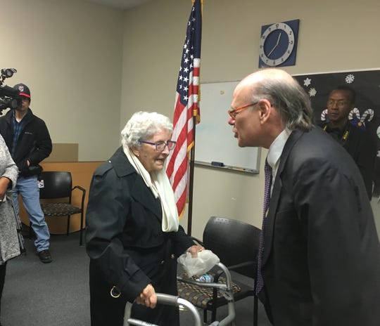 "U.S. Rep. Steve Cohen, D-Memphis, speaks with 88-year-old Annie Maclin at a ""Congress on your corner"" event at the Randolph Branch Library on February 22, 2019."