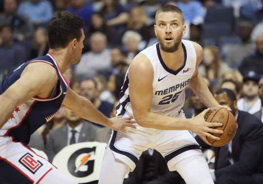 Memphis Grizzlies forward Chandler Parsons looks to drive past Los Angeles Clippers forward Danilo Gallinari during their game at the FedExForum on Friday, Feb. 22, 2019.