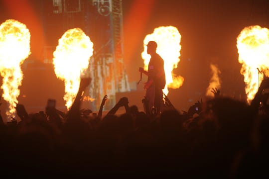 Rapper Travis Scott performs at Fiserv Forum on Feb. 22, 2019.