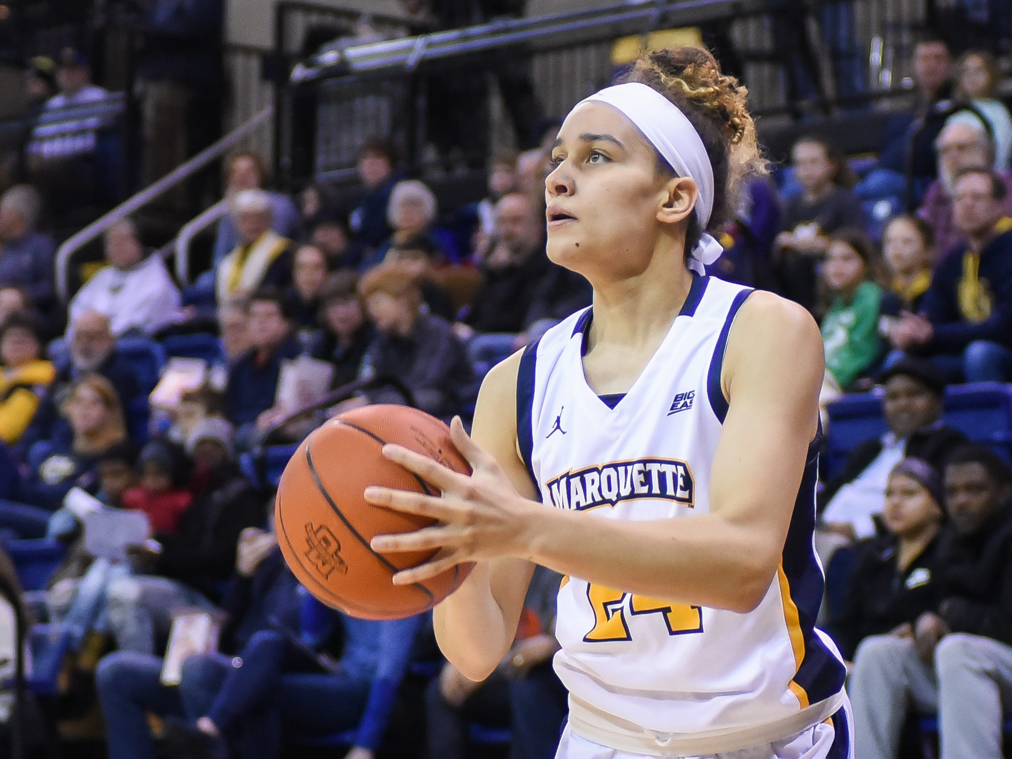 Marquette guard Selena Lott (shown in an earlier game)  lead the Golden Eagles with 19 points on Sunday