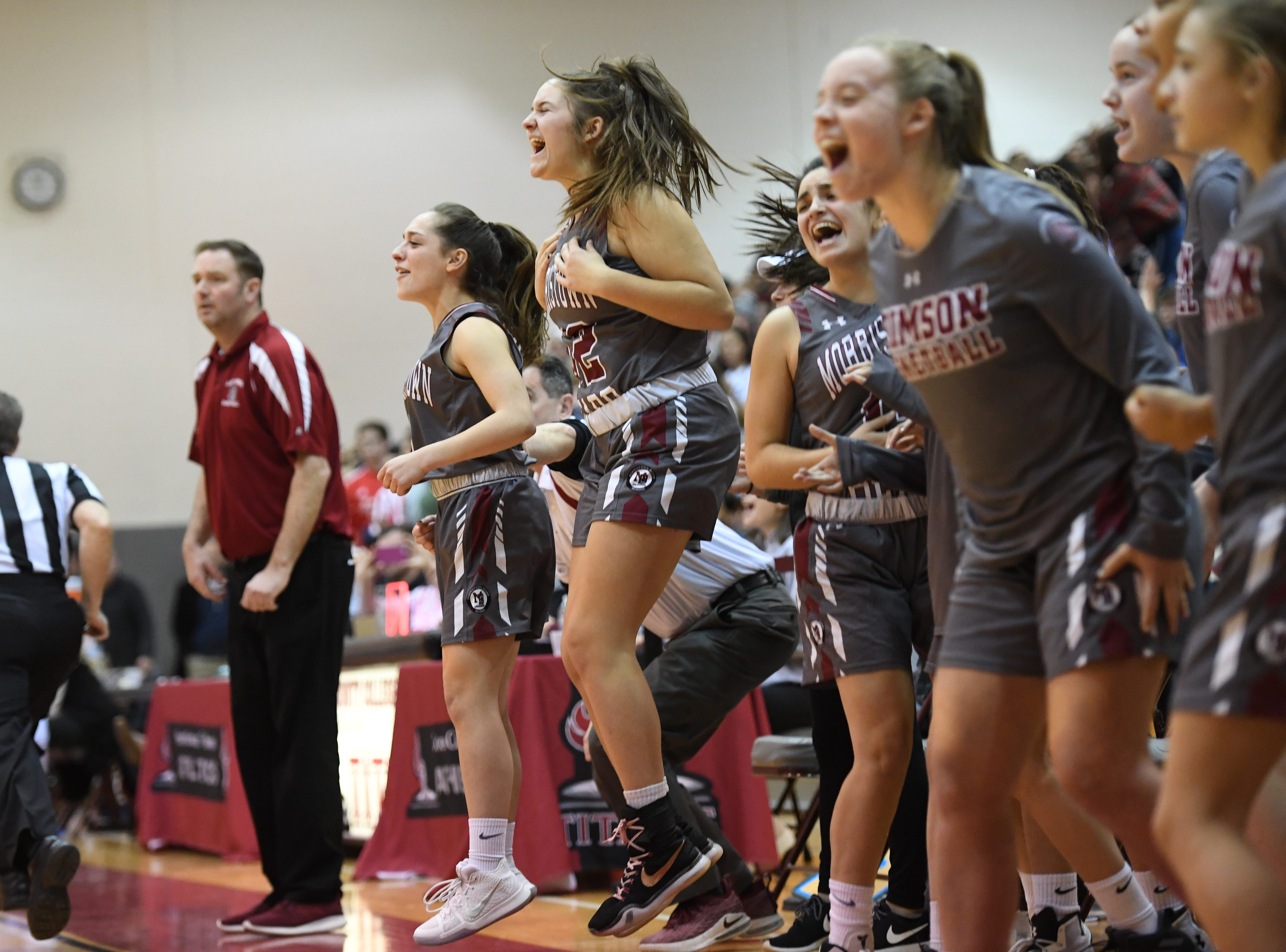 Chatham vs. Morristown-Beard in the Morris County Tournament girls basketball final at the County College of Morris in Randolph on Friday, February 22, 2019. MB cheers in the fourth quarter.