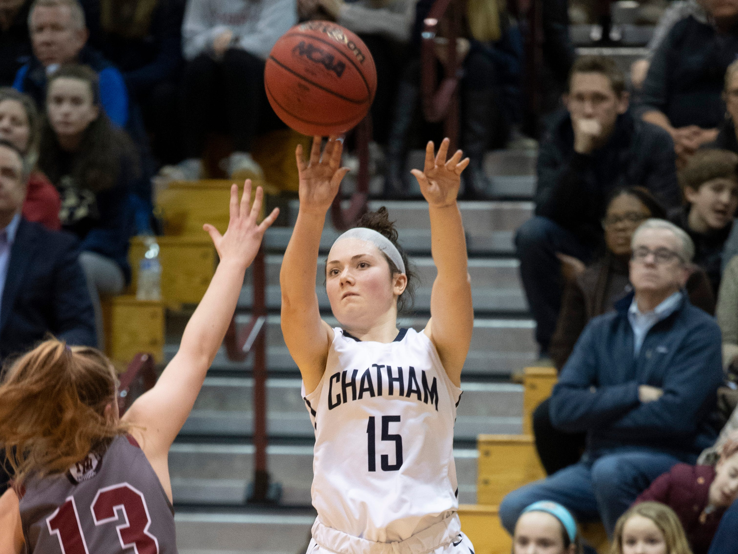 Chatham sophomore guard Tess Ford takes a shot during the Morris County Tournament girls basketball final against Morristown-Beard at the County College of Morris in Randolph on Friday, February 22, 2019.