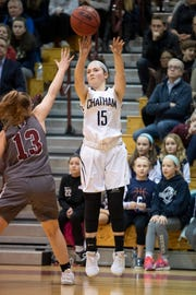 Chatham's Tess Ford takes a shot during a February game.