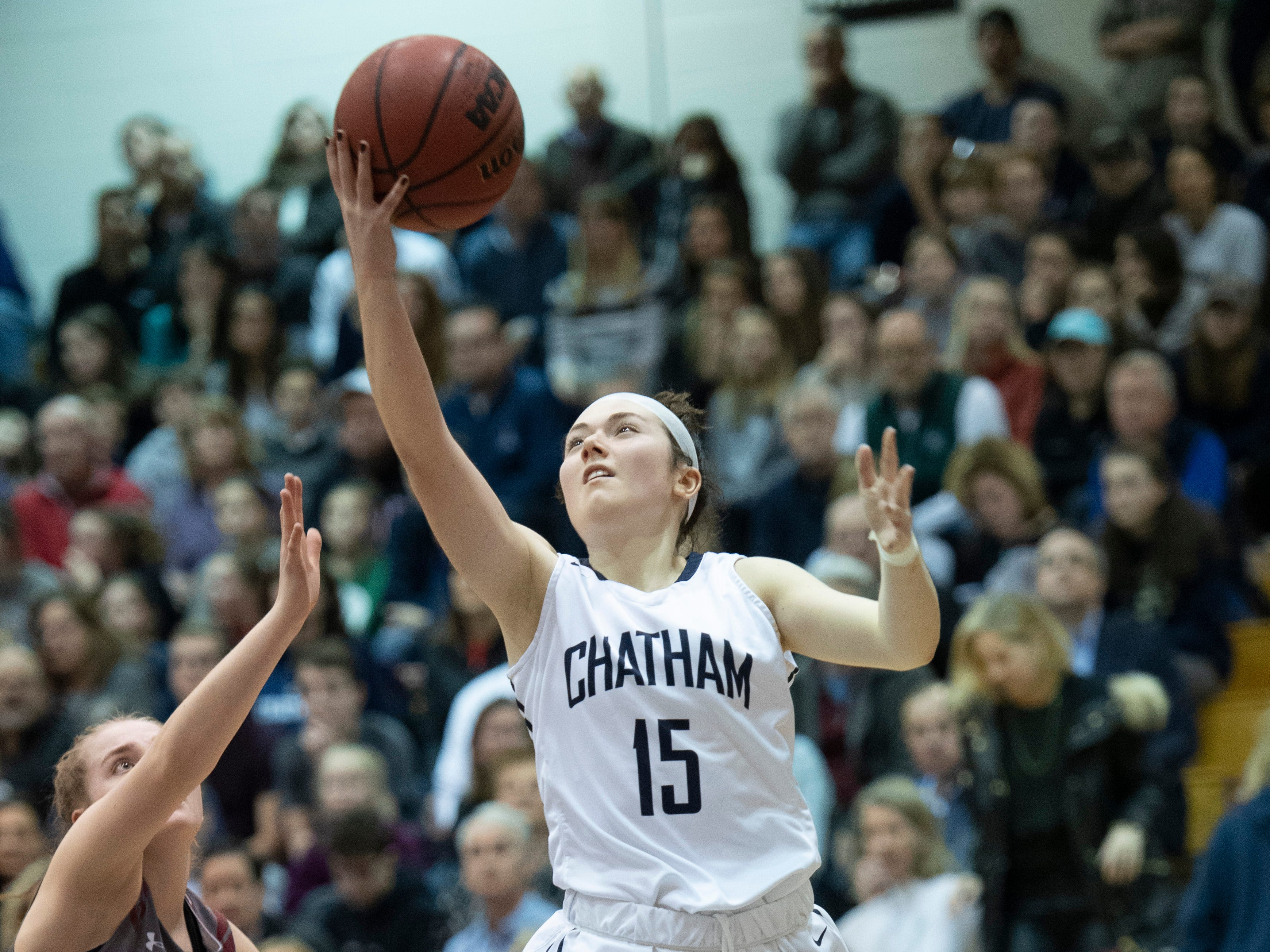 Chatham sophomore guard Tess Ford drives to the basket during the Morris County Tournament girls basketball final against Morristown-Beard at the County College of Morris in Randolph on Friday, February 22, 2019.