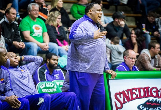 Central's Chandler Thompson coaches against New Castle during their game at New Castle High School Friday, Feb. 22, 2019.