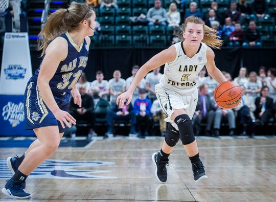 FILE -- Winchester's Becca Chamberlin dribbles during their state final game against Oak Hill at Bankers Life Fieldhouse Saturday, Feb. 23, 2019. Chamberlin is one of three seniors on this year's Winchester team.