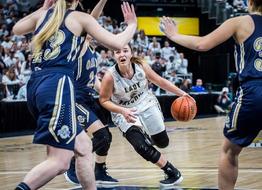 Winchester's Maddie Lawrence set a school record for points in a game with 52 in a 94-22 win over Cambridge City Lincoln on Saturday, Dec. 14, 2019.