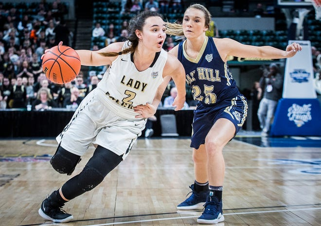 FILE -- Winchester's Maddie Lawrence slips past Oak Hill's defense during their state final game at Bankers Life Fieldhouse Saturday, Feb. 23, 2019. Lawrence is one of three seniors on this year's Golden Falcons team.