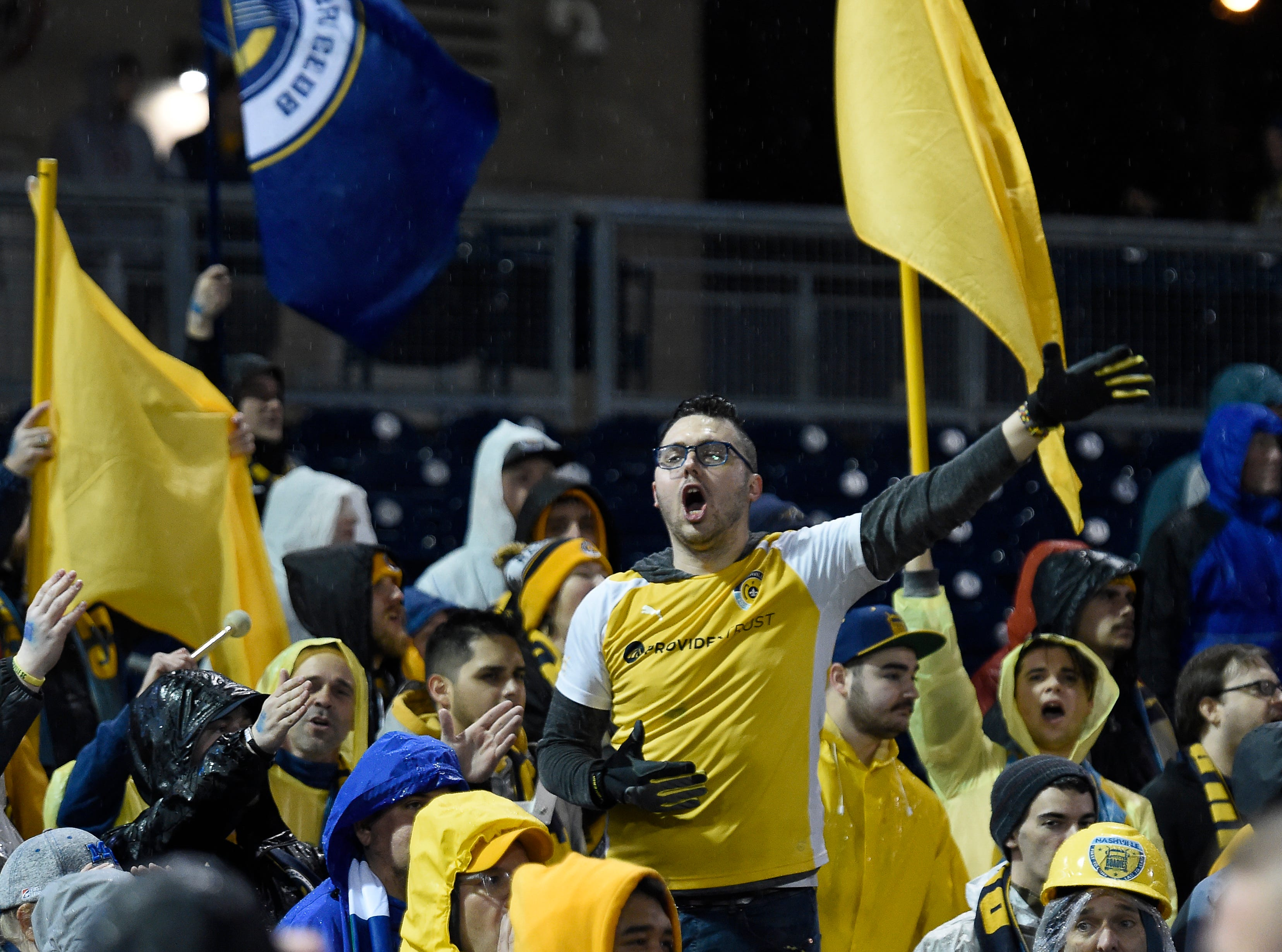 Nashville SC supporters group The Roadies cheer for their team at First Tennessee Park before their preseason match against New York City FC Friday, Feb. 22, 2019 in Nashville, Tenn.