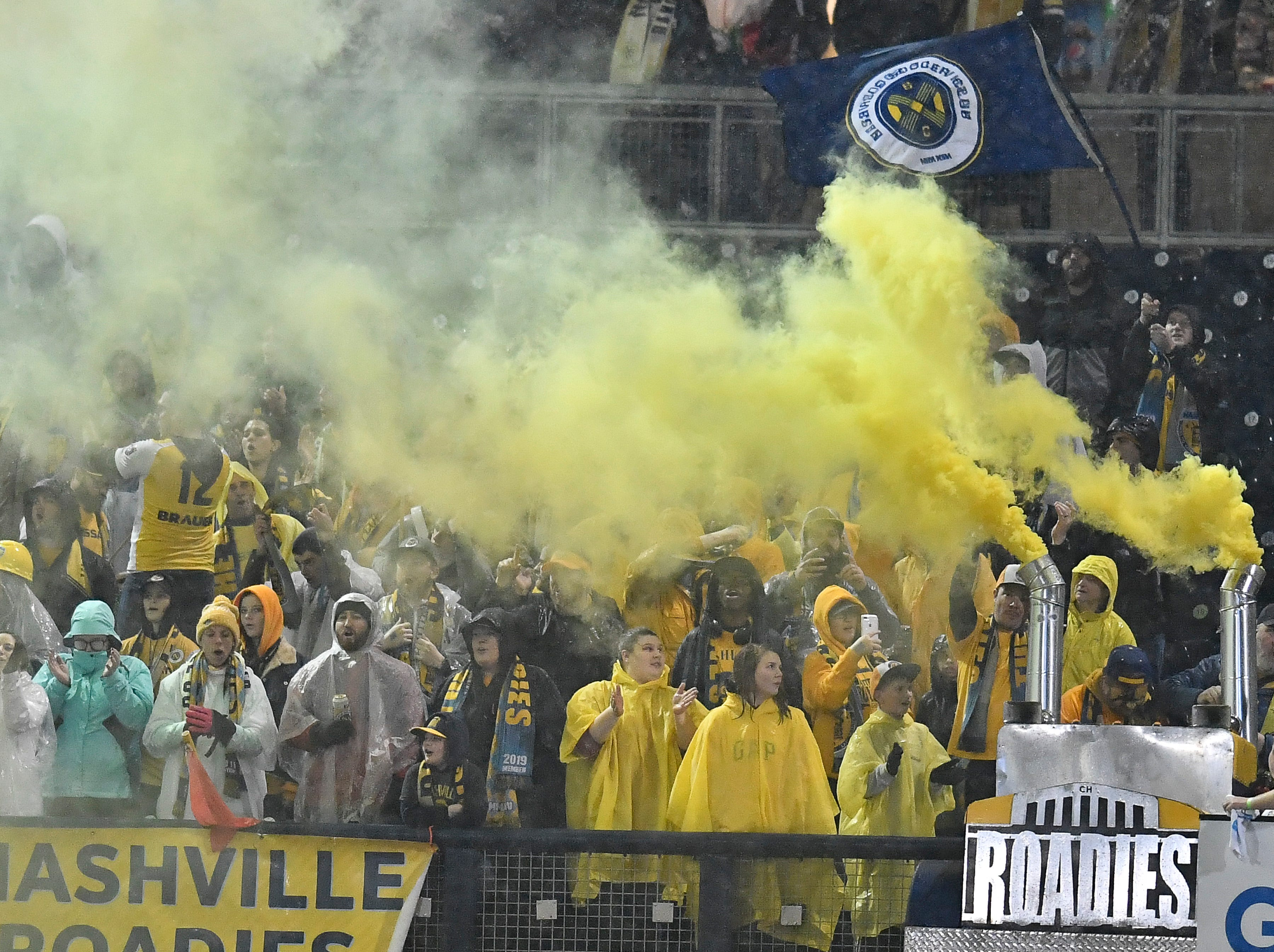 Nashville SC supporters group The Roadies cheer for their team during the first half of their preseason match against New York City FC at First Tennessee Park Friday, Feb. 22, 2019 in Nashville, Tenn.