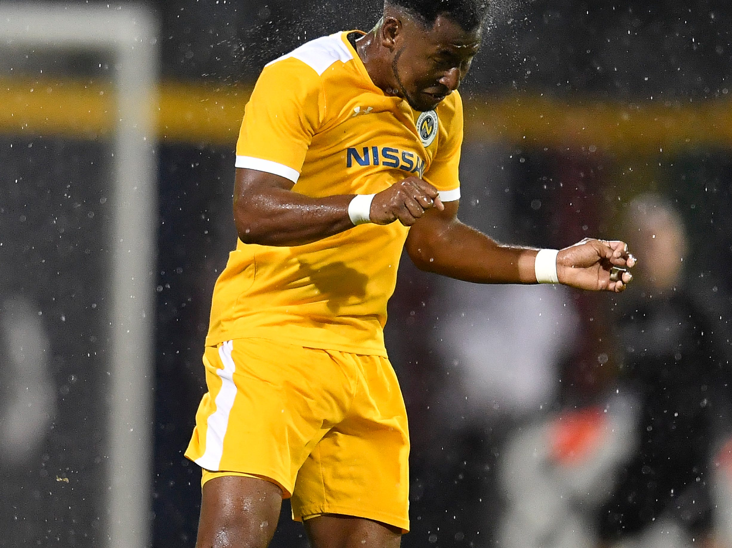 Nashville SC defender Darnell King (21) heads the ball during the second half of their match against the New York City FC at First Tennessee Park Friday, Feb. 22, 2019 in Nashville, Tenn.