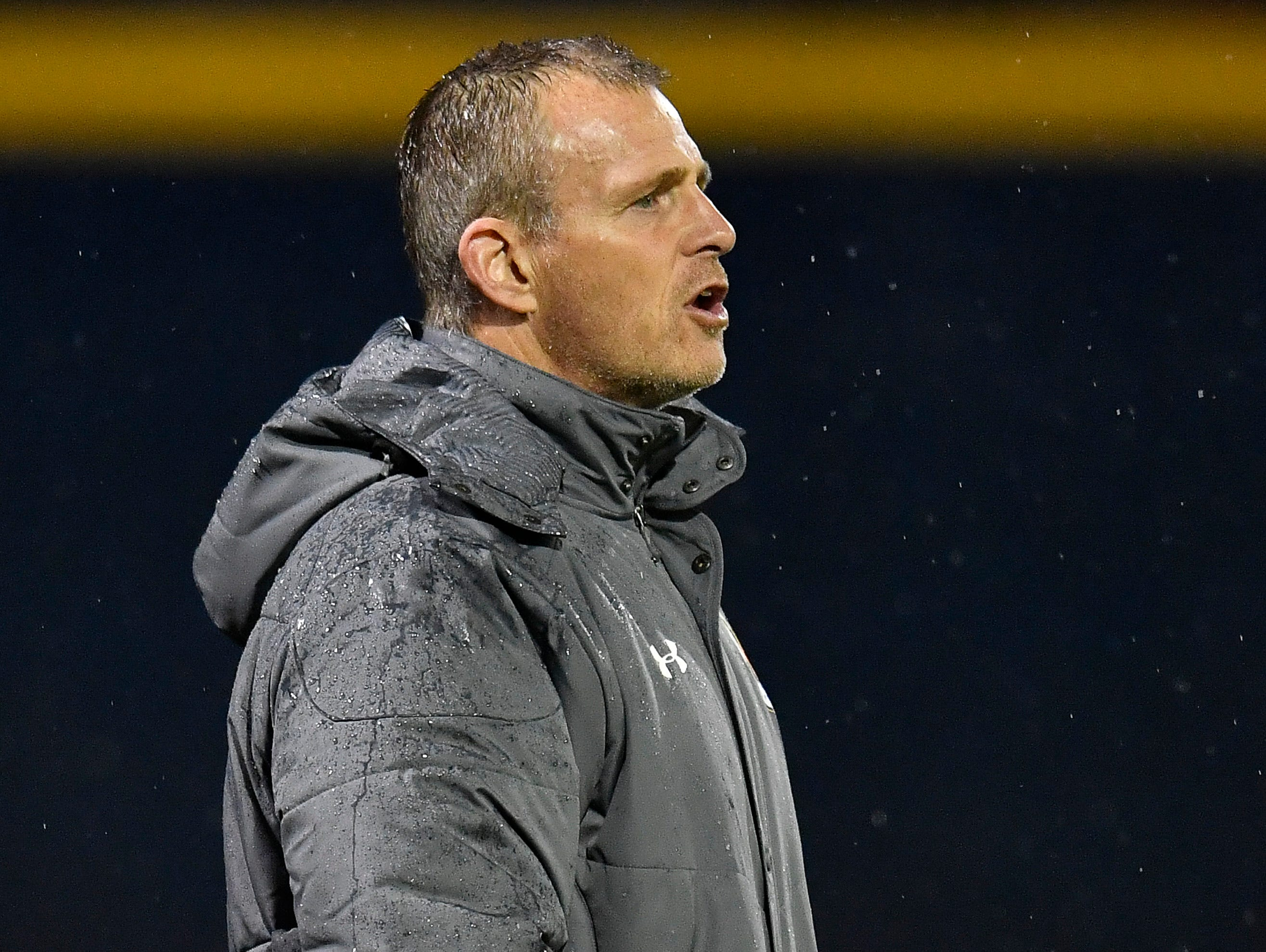 Nashville SC head coach Gary Smith yells at his team during the second half of their preseason game against the New York City FC at First Tennessee Park Friday, Feb. 22, 2019 in Nashville, Tenn.