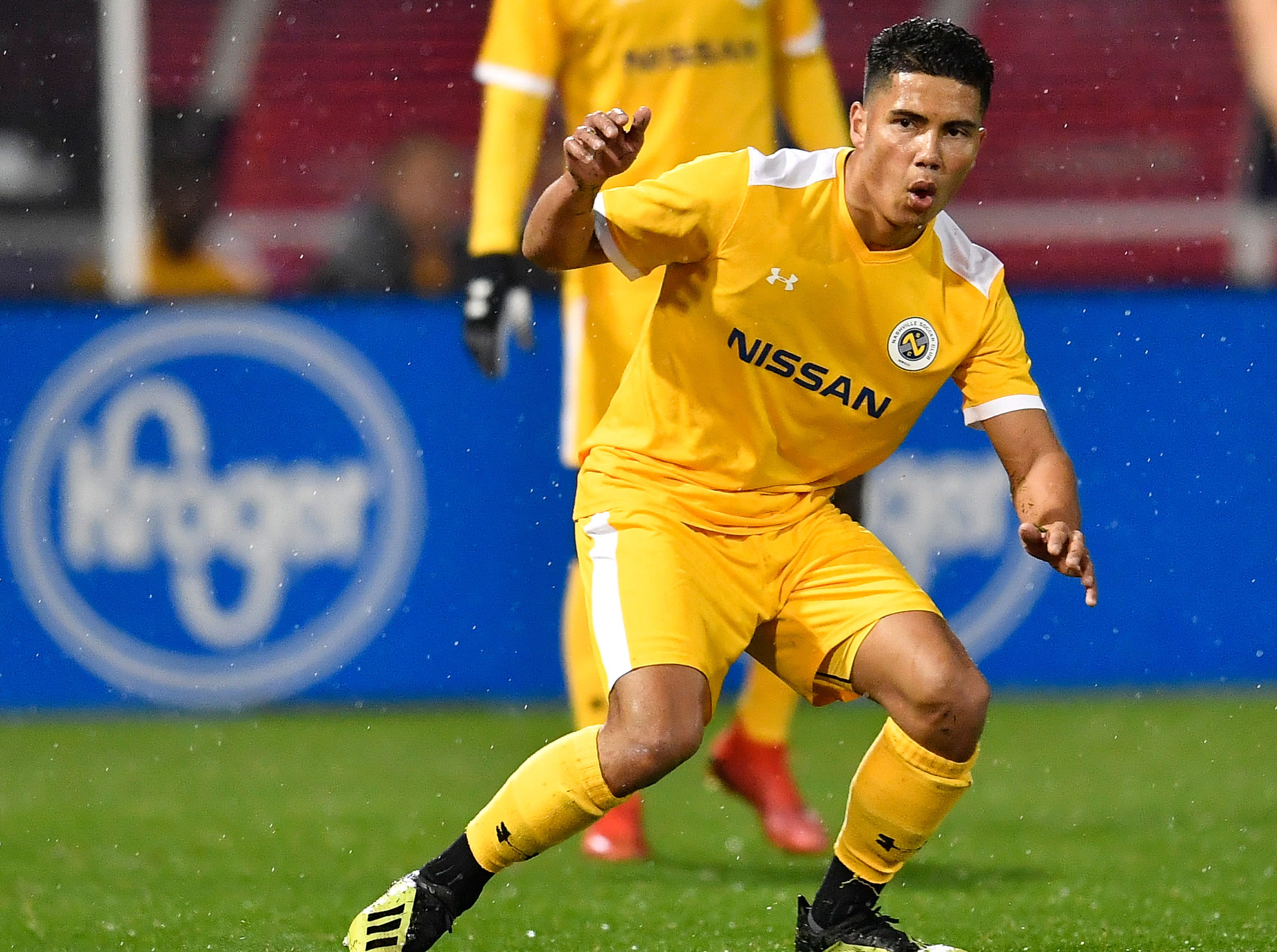 Nashville SC forward Vinnnie Vermeer (8) reacts after missing a shot on goal during the second half against New York City FC at First Tennessee Park Friday, Feb. 22, 2019 in Nashville, Tenn.