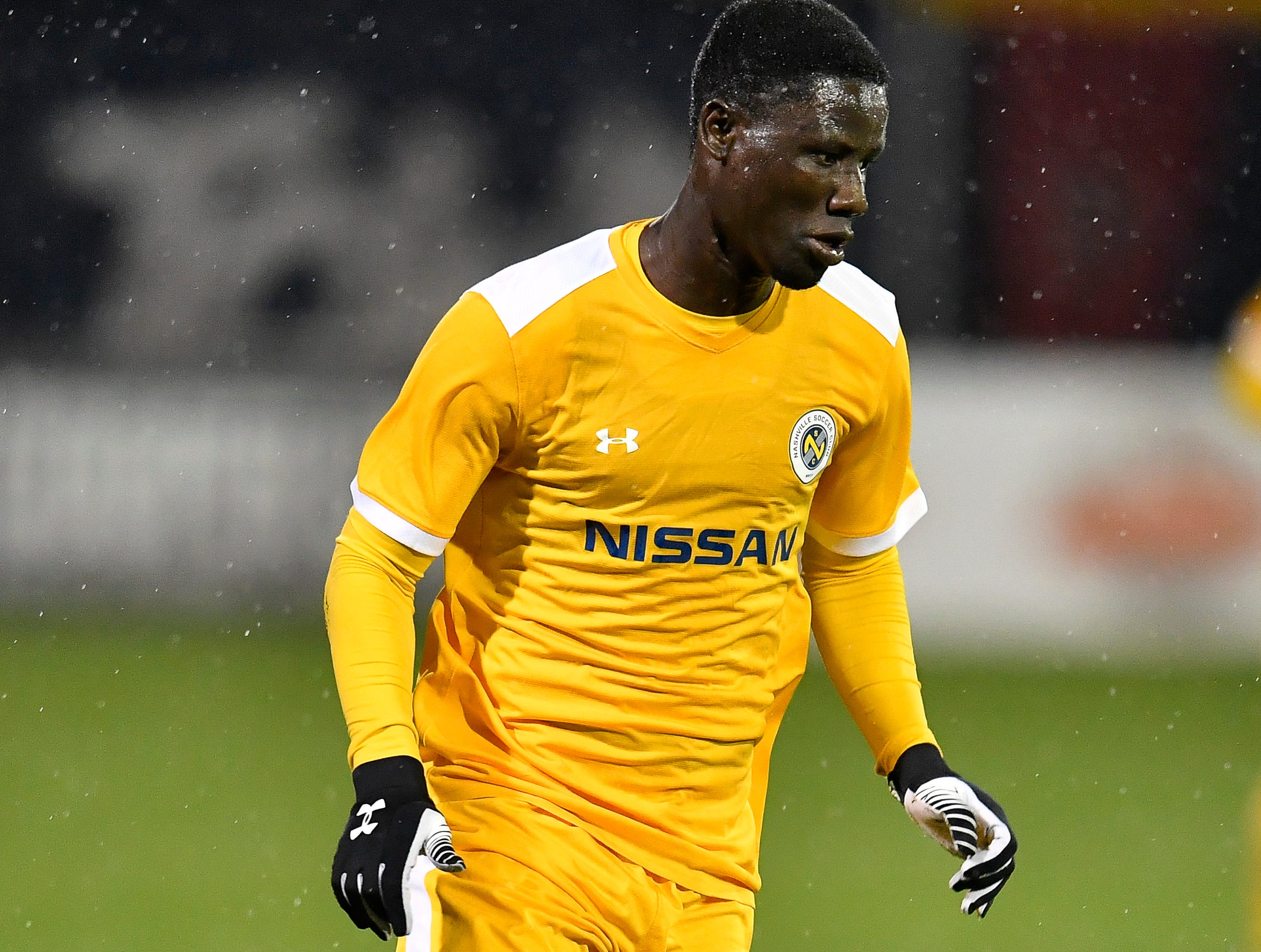 Nashville SC forward Ropapa Mensah (3) races up the field during the second half of their match against New York City FC at First Tennessee Park Friday, Feb. 22, 2019 in Nashville, Tenn.