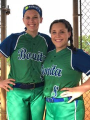 Former members of the Bonita Springs Little League are now competing for the brand new Bonita Springs High School baseball and softball teams. Shown here are Bonita High softball players Chiara Perfetto and Mackenzie Holappa.