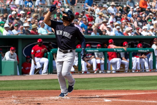 New York Yankees second baseman Gleyber Torres (25) reacts after hitting a solo home run during the first inning against the Boston Red Sox at JetBlue Park.