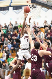 Kennedy vs. Clifton in the Passaic County Boys Basketball Tournament Final at Wayne Valley High School on Saturday, February 23, 2019. K #1 Avant'e Gilbert drives to the basket.