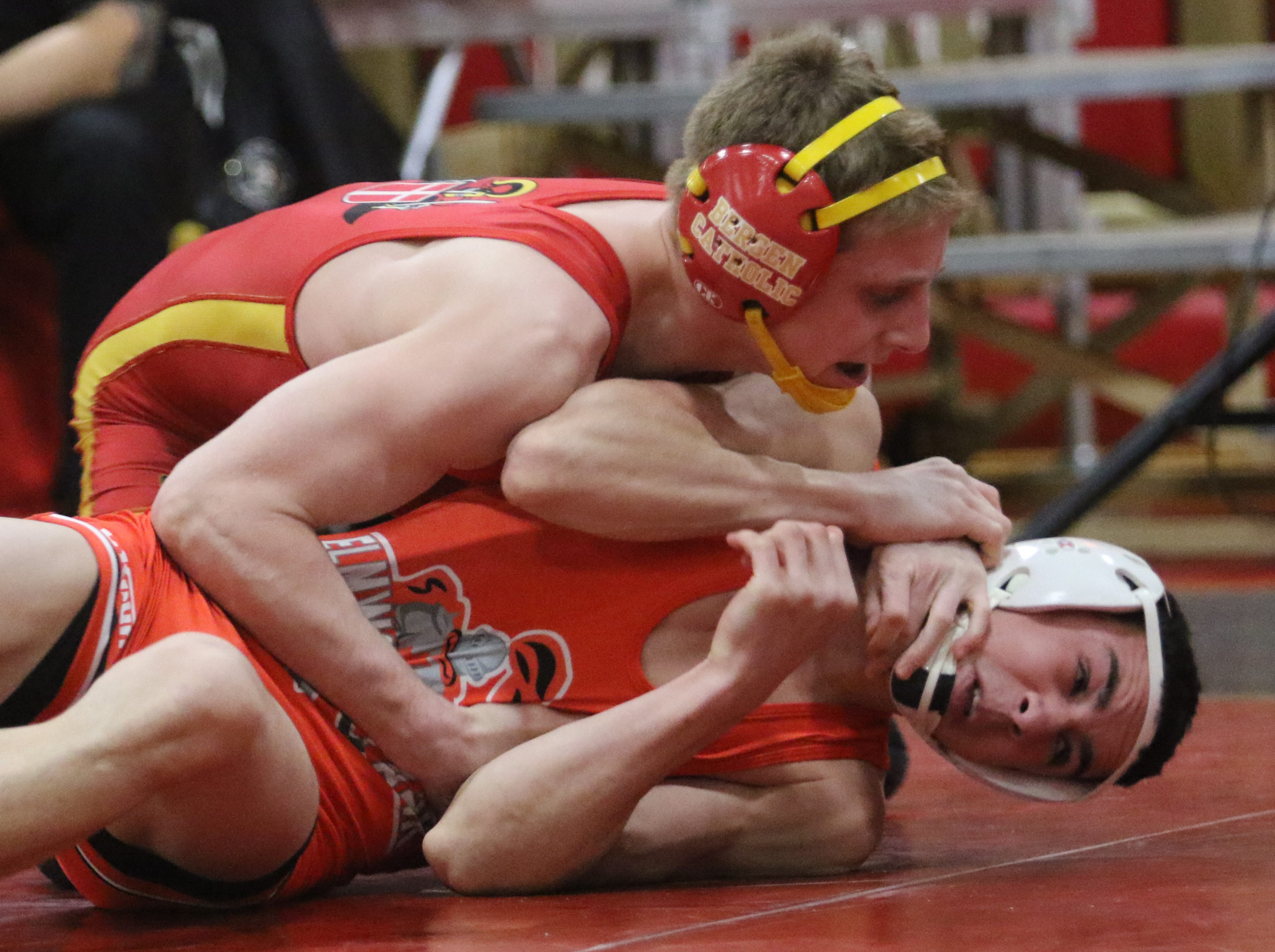 Dylan Cedeno of Bergen Catholic defeated Zack Martinez of Elmwood Park in the 120 lb. semi final match at the Region 2 wrestling tournament at Mt. Olive HS on February 23, 2019.