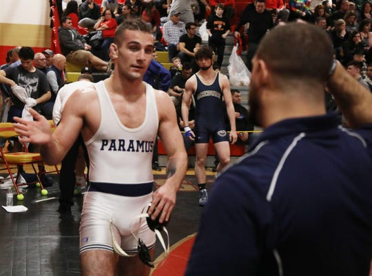 Anthony Asatrian of Paramus defeats Evan Vasquez of Roxbury in the 160-pound semifinal match at the Region 2 wrestling tournament at Mt. Olive HS on Feb. 23, 2019.