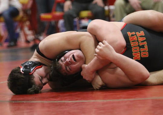 Zach Lewis of Emerson/Park Ridge defeats Robert Chappell of Mt.Olive in the 220 lb. semi final match at the Region 2 wrestling tournament at Mt. Olive HS on February 23, 2019.