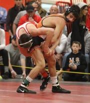 Alex Almeyda of Fort Lee defeated Nick Kayal of Bergen Catholic in overtime in the 113 lb. semi final match at the Region 2 wrestling tournament at Mt. Olive HS on February 23, 2019.