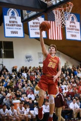 Don Bosco vs. Bergen Catholic at the finals of 63rd Bergen County Jamboree boys basketball tournament at Fairleigh Dickinson University in Hackensack on Friday February 22, 2019. BC#25 Doug Edert shoots the ball.