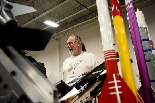 The Academy of Model Aeronautics (AMA) hosts the annual AMA Expo East at the Meadowlands Exposition Center in Secaucus on Saturday February 23, 2019. Brian Schenkenberger from Central New Jersey Area Rocketry Society shown between some rockets.