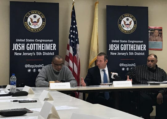 Democratic Rep. Josh Gottheimer, center, met with local faith-based leaders and advocates, including Rev. Gregory Jackson, left, and NAACP Bergen County President Jeff Carter, right, to discuss voting rights protections on Feb. 23, 2019.