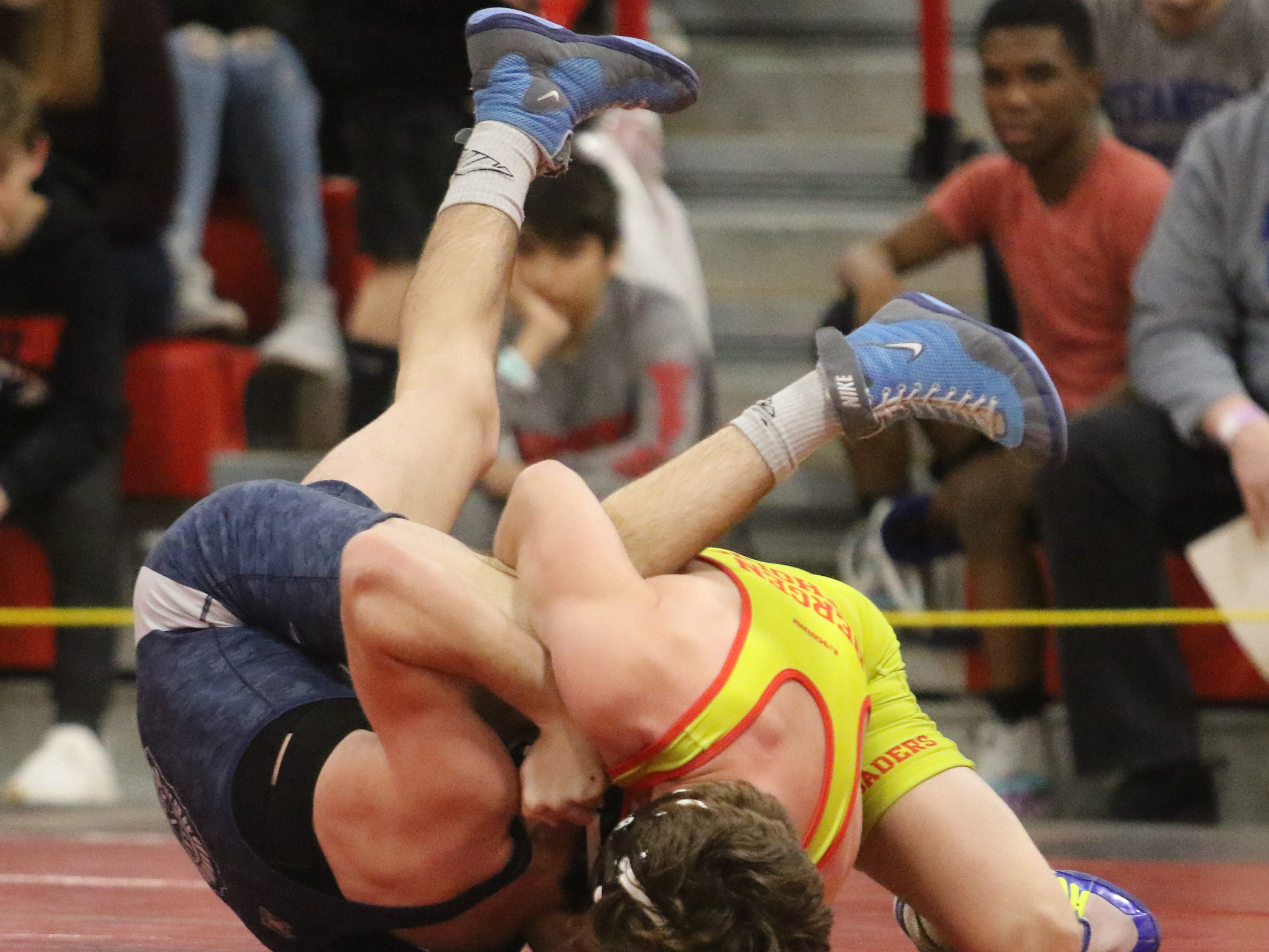 Robert Howard of Bergen Catholic wins over Ryan Hammer of Wayne Valley in the 126 lb. semi final match at the Region 2 wrestling tournament at Mt. Olive HS on February 23, 2019.
