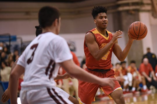 Don Bosco vs. Bergen Catholic at the finals of 63rd Bergen County Jamboree boys basketball tournament at Fairleigh Dickinson University in Hackensack on Friday February 22, 2019. DB#3 Devan Sharma and BC#13 Raejon Figures.