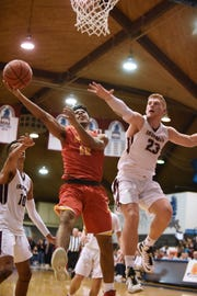 Bergen Catholic vs. Don Bosco at the finals of 63rd Bergen County Jamboree boys basketball tournament at Fairleigh Dickinson University in Hackensack on Friday February 22, 2019. (From left) DB#10 Owen McGlashan, BC#13 Raejon Figures and DB#23 Victor Konopka.