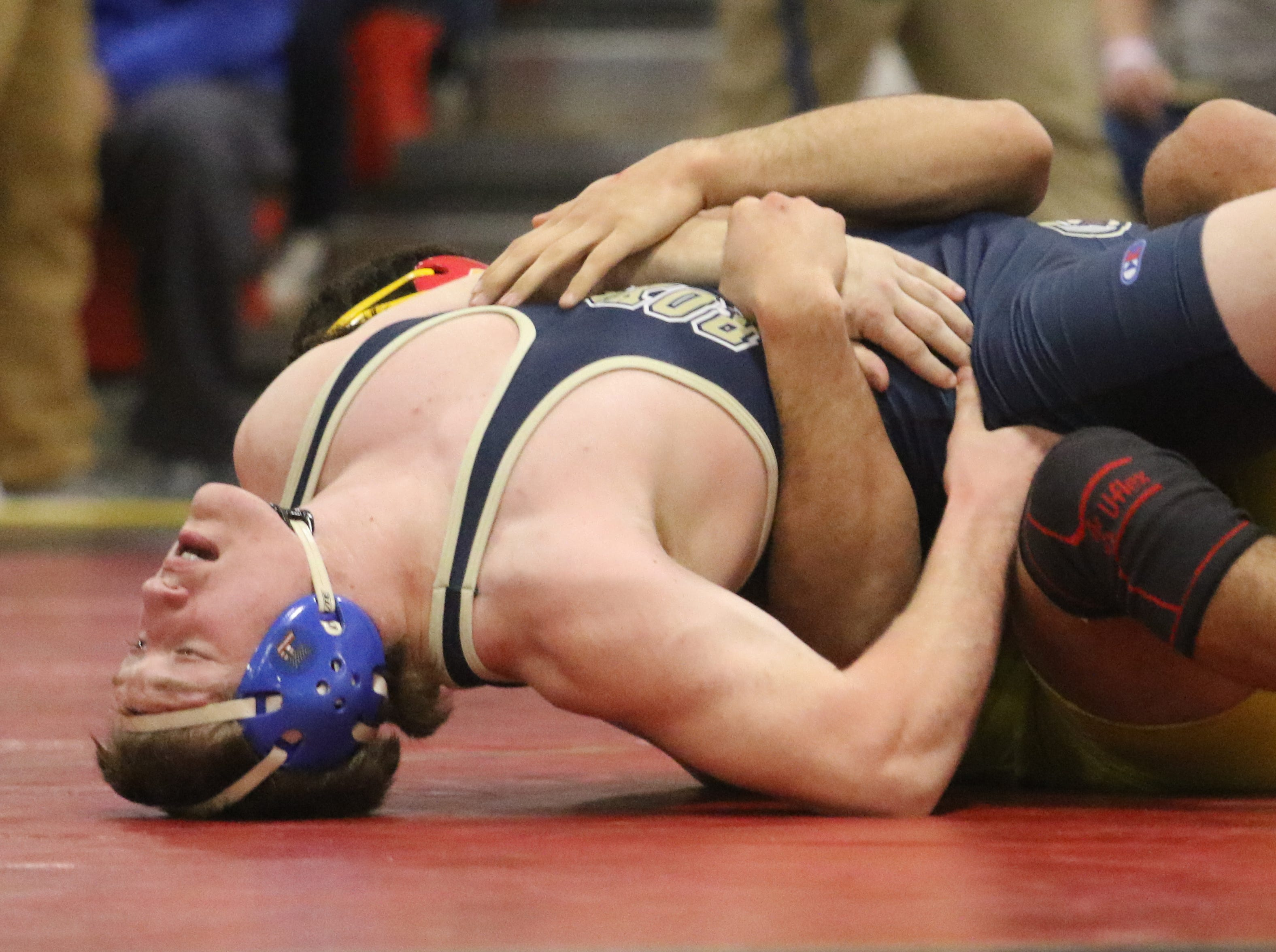 Jacob Cardenas of Bergen Catholic defeats Ben Temples of Roxbury in the 195 lb. semi final match at the Region 2 wrestling tournament at Mt. Olive HS on February 23, 2019.