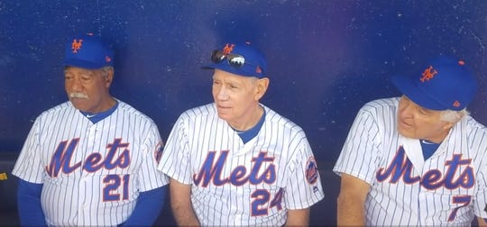 From left, Cleon Jones, Art Shamsky and Ed Kranepool, players from the 1969 World Series winning team, take in spring training from the Mets dugout at First Data Field in Port St. Lucie, Fla., on Friday, Feb. 22, 2019. The Mets are celebrating the team that won 50 years ago throughout the 2019 season.