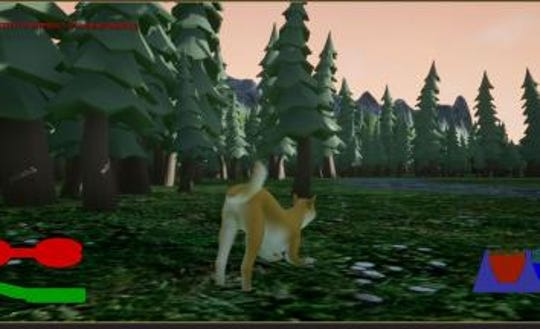 """A still from """"Woof (The Search for Home),"""" one of the games invented in Las Cruces during the 2019 Game Jam."""