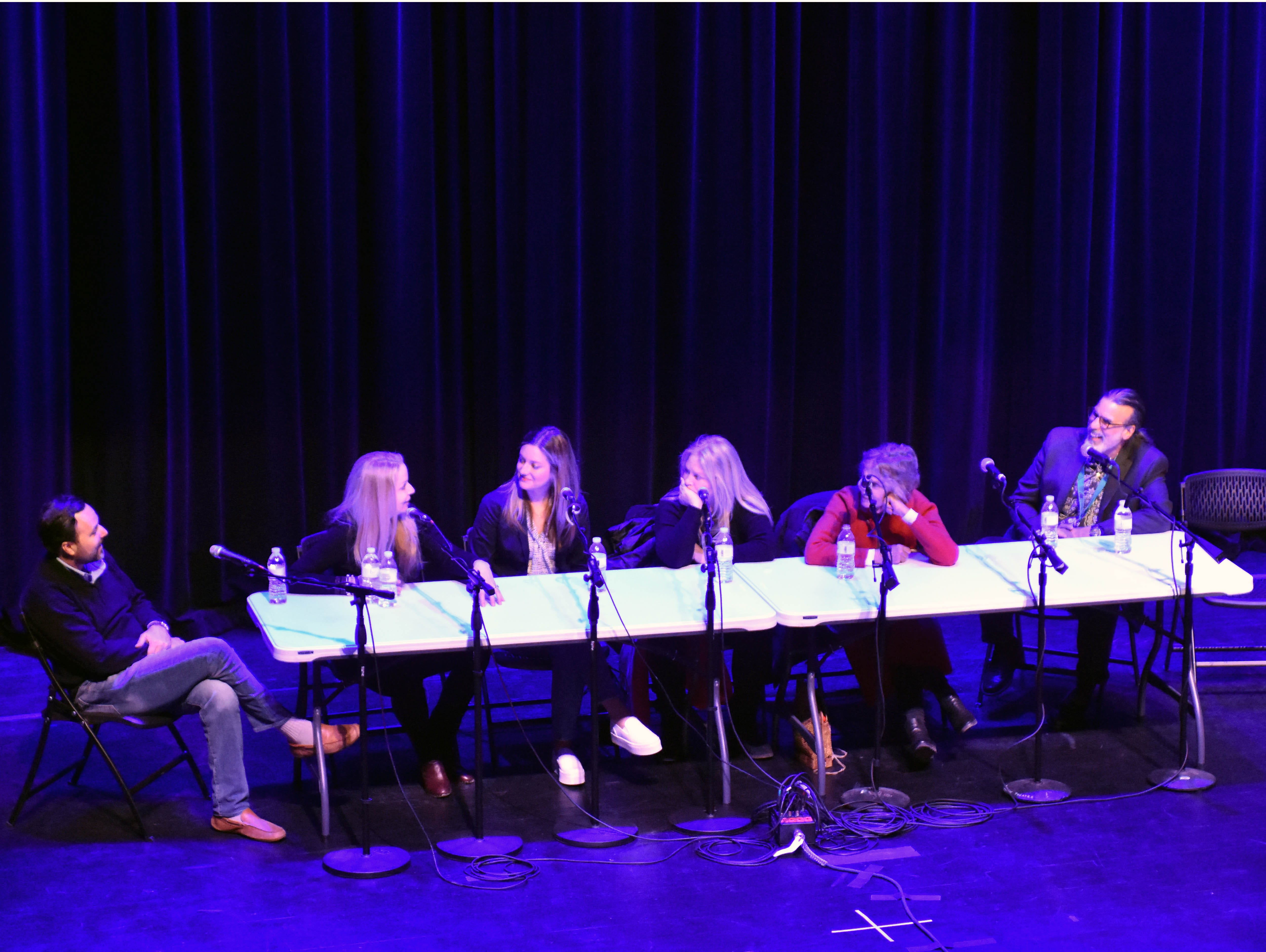 """From left, director Ross Marks (""""Walking with Herb""""), costume designer Mary T. Quigley (""""The Big Bang Theory,"""" """"Roseanne""""), actress Zoe Perry (""""Young Sheldon""""), actress Beverly D'Angelo (""""National Lampoon's Vacation"""" movies), actress Lauren Hutton (""""American Gigolo""""); and producer Don Foster """"Big Bang Theory"""") participate in the """"Making It Work in Hollywood"""" panel Saturday, Feb. 23, 2019, at the Rio Grande Theatre, part of the Las Cruces International Film Festival."""