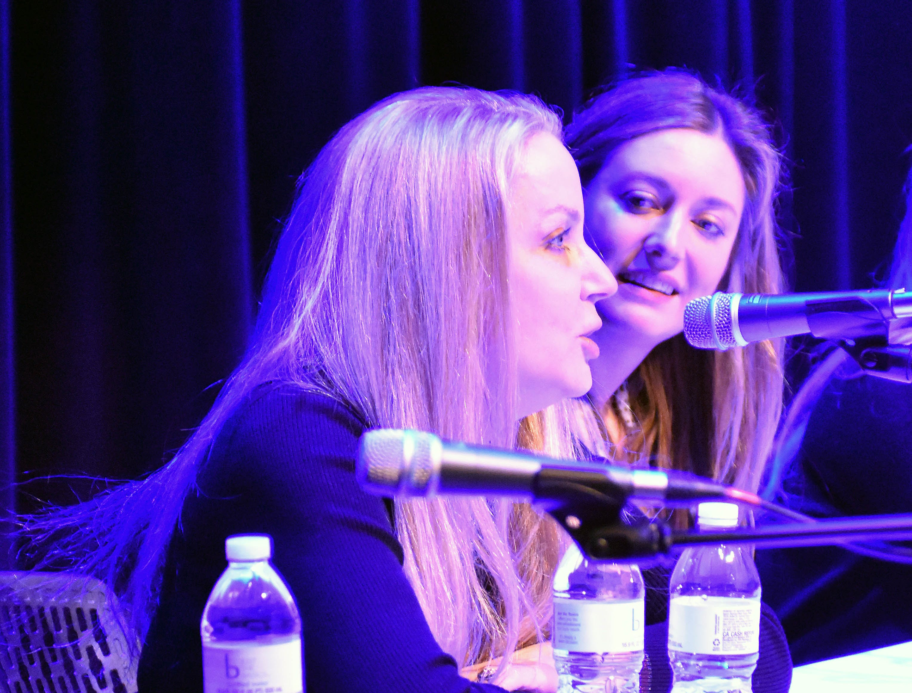 """From left, costume designer Mary T. Quigley (""""The Big Bang Theory,"""" """"Roseanne"""") and actress Zoe Perry (""""Young Sheldon"""") participate in the """"Making It Work in Hollywood"""" panel Saturday, Feb. 23, 2019, at the Rio Grande Theatre, part of the Las Cruces International Film Festival."""