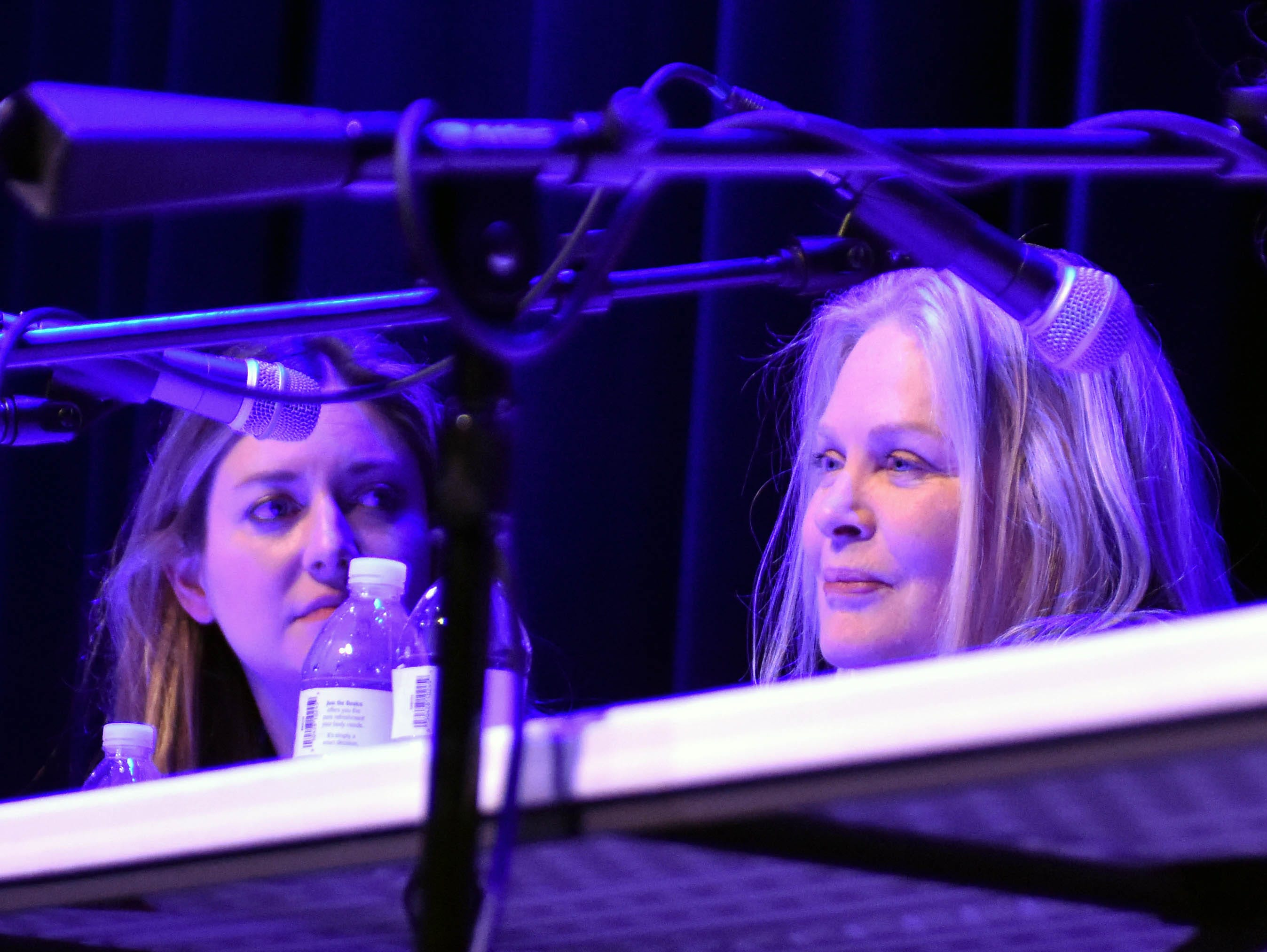 """From left, actresses Zoe Perry (""""Young Sheldon"""") and Beverly D'Angelo (""""National Lampoon's Vacation"""" movies) participate in the """"Making It Work in Hollywood"""" panel Saturday, Feb. 23, 2019, at the Rio Grande Theatre, part of the Las Cruces International Film Festival."""