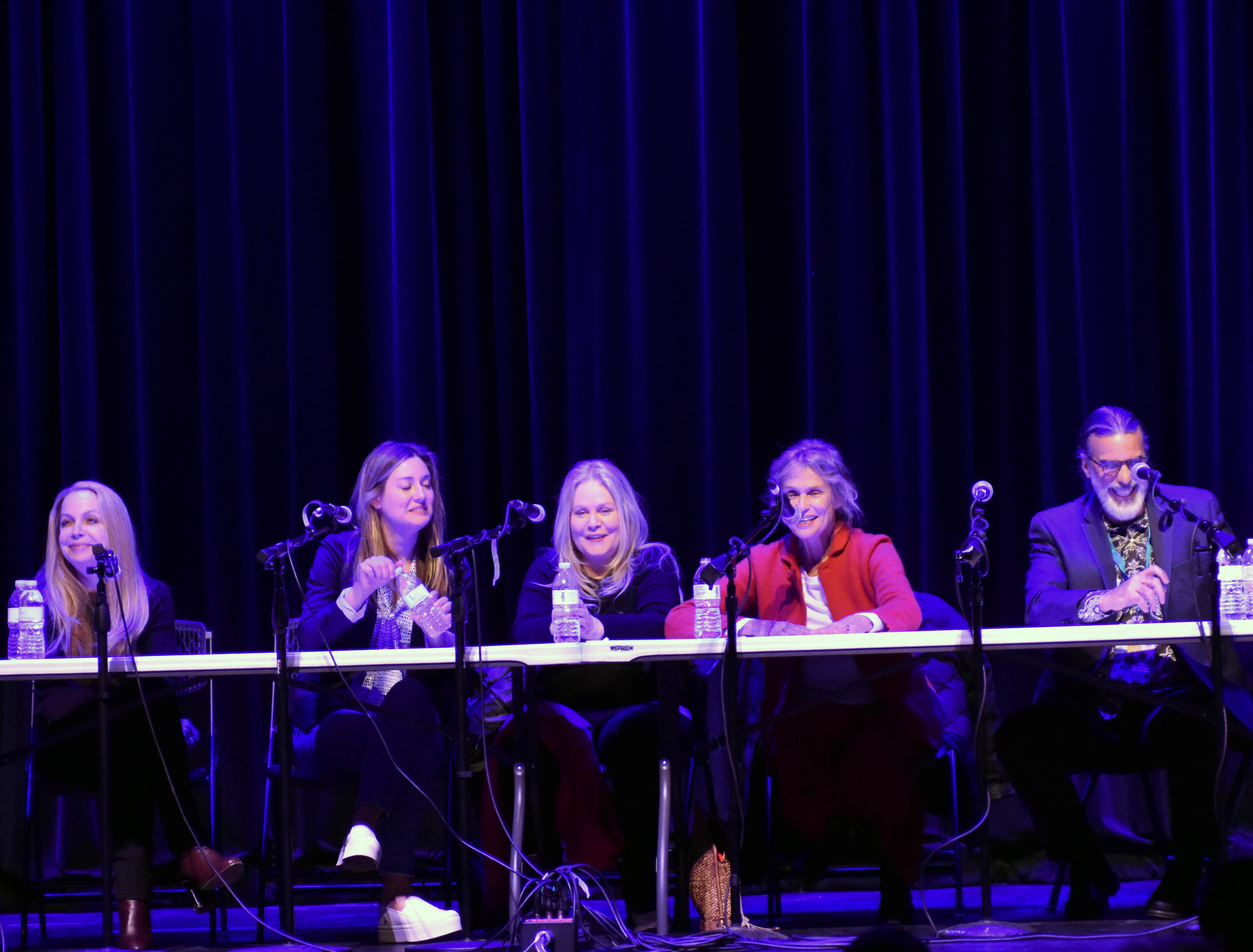 """From left, costume designer Mary T. Quigley (""""The Big Bang Theory,"""" """"Roseanne""""), actress Zoe Perry (""""Young Sheldon""""), actress Beverly D'Angelo (""""National Lampoon's Vacation"""" movies), actress Lauren Hutton (""""American Gigolo""""); and producer Don Foster """"Big Bang Theory"""") participate in the """"Making It Work in Hollywood"""" panel Saturday, Feb. 23, 2019, at the Rio Grande Theatre, part of the Las Cruces International Film Festival."""