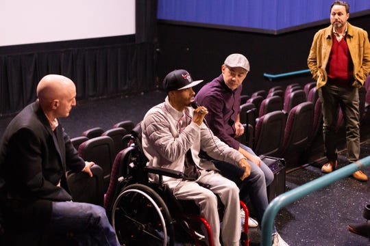 "Shawn Harrington discusses ""Chi-Town"" documentary. Also pictured are far left, author Rus Bradburd, film director Nick Budabin and LCIFF Executive Director, Ross Marks on Friday night."