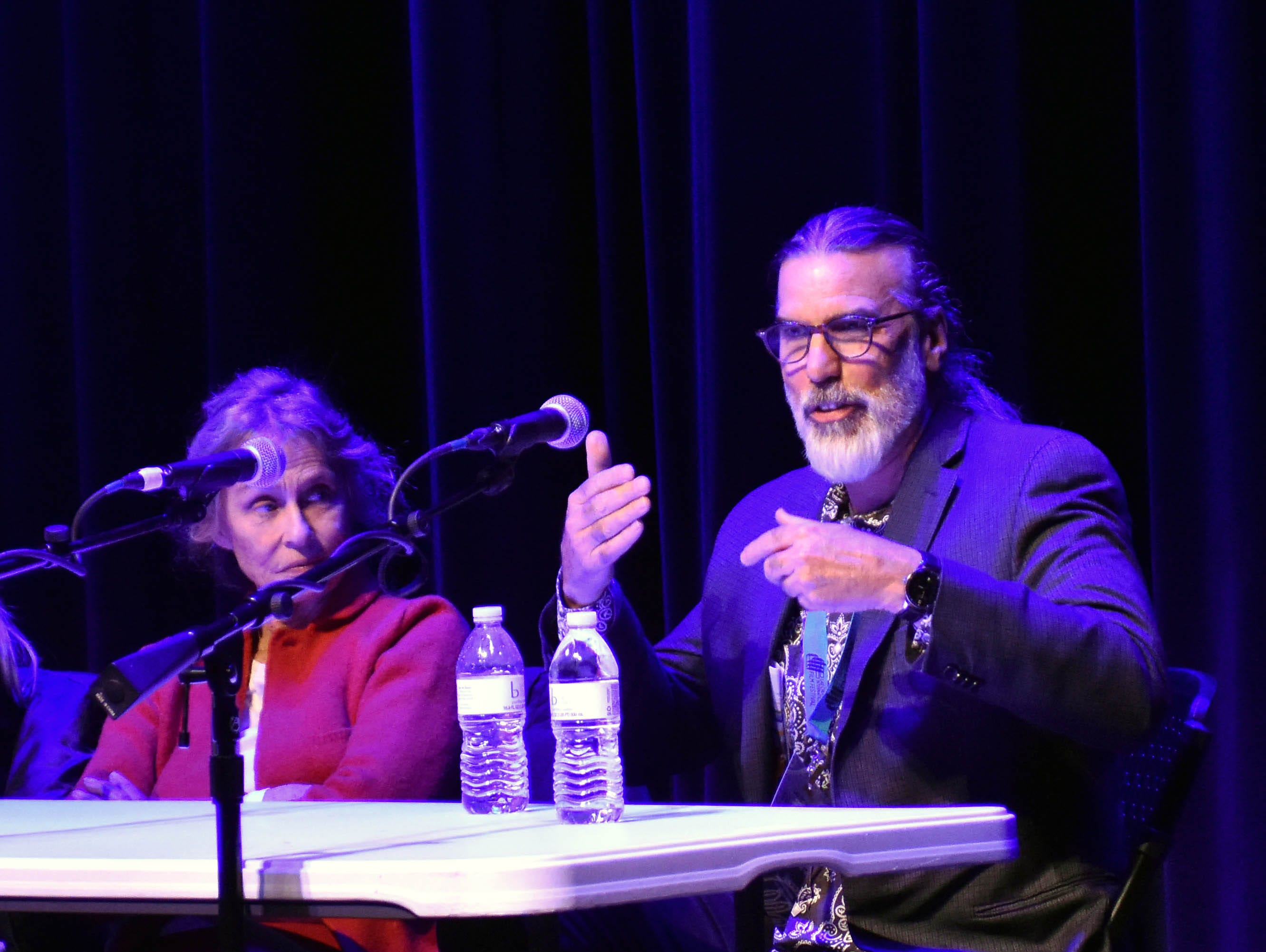 """From left, actress Lauren Hutton (""""American Gigolo"""") and Producer Don Foster (""""Big Bang Theory"""") participate in the """"Making It Work in Hollywood"""" panel Saturday, Feb. 23, 2019, at the Rio Grande Theatre, part of the Las Cruces International Film Festival."""