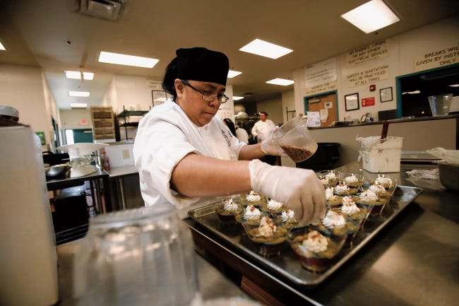 Culinary arts student Lorencita Billiman works on a parfait at the Navajo Technical University in Crownpoint. Students attending tribal colleges will be eligible to receive New Mexico lottery scholarships in July under a bill signed into law this month by Gov. Michelle Lujan Grisham.